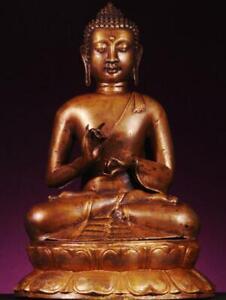 "BUDDHA: Antique Tibetan Sakyamuni, Vitarka Mudra,Teaching, Bronze 1800s, 15""Tall"