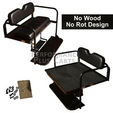 Yamaha Drive G29 Golf Cart Flip Folding Rear Back Seat Kit - Black Cushions