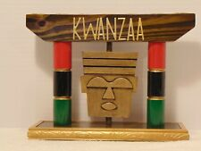 KWANZAA Wood Kinara For The Holiday--Mask w/ PanAfrican Columns--Ebony Stained