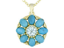 Tehya Oyama Turquoise .70ctw Blue Topaz 18k Gold over Brass Pendant + Chain