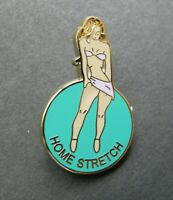 ARMY AIR FORCE NOSE ART PINUP HOME STRETCH GIRL LAPEL HAT PIN BADGE 1 INCH