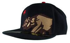 Dissizit! Side Bear Black Snapback Cap Hat California Star Flag