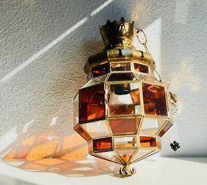 ✨ VTG Geometric Ceiling Swag Pendant Stained Glass Lamp Light Arabic Spanish MCM