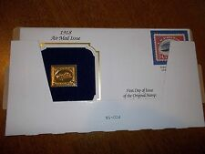 22kt Gold Replica 1918 Air Mail Issue Inverted Jenny Stamp - First Day of Issue