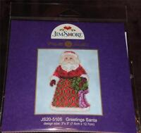 "MILL HILL JIM SHORE Counted Cross Stitch Ornament Kit GREETINGS SANTA 3"" x 5"""