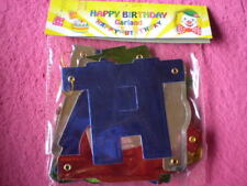 PARTY - HAPPY BIRTHDAY Girlande 2,5 Mtr. Bunt Glänzende Buchstaben / Neu