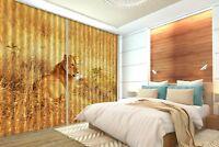 3D Weide Löwe 890 Blockade Foto Vorhang Druckvorhang Vorhänge Stoff Fenster DE