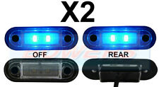 2 x 12V/24V FLUSH FIT BLUE LED MARKER LAMPS / LIGHTS TRUCK VAN LORRY KELSA BAR