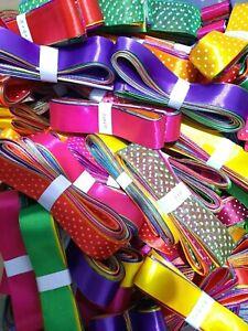 10 x 1Meter SATIN & ORGANZA mixed Ribbon Bundle Crafts gift Hair Tying Christmas