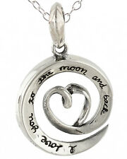 Love You To The Moon and Back Necklace - 925 Sterling Silver - Moon Love Charm