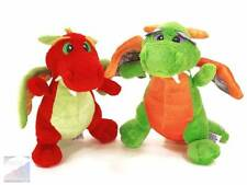 "Aurora Lot of 2 DRAGON 7"" Plush Toys Red Roars & Green Magic Sounds $34 EXC"