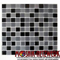 Glasmosaik grau schwarz Wand Dusche Küche WC Badezimmer Art: WB62-0208 | 1 Matte