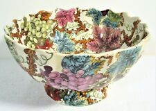 """BOLD HAND COLORED COLORFUL COPELAND ENGLAND 9"""" FOOTED BOWL, GRAPE & VINE, MINT"""