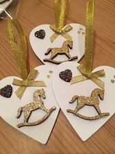 3 X Christmas Decorations Rocking Horse Shabby Chic Real Wood Heart Bows Gold