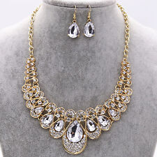 Crystal Diamond Gem Pendent Necklace Earrings Set Prom Jewelry Dress Accessory