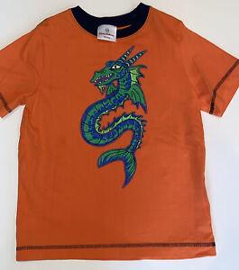 Hanna Andersson Boys Orange Dragon T-Shirt Tee Size 120 6-7 EUC