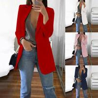Womens Collar Suit Thin Office Jacket Coat Ladies Blazer Cardigan Autumn Winter