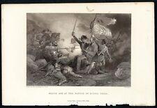H. WARREN Antq 19thC 1856 Steel Engraving MAJOR DIX AT THE BATTLE OF BUENA VISTA