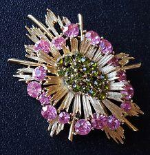 Signed LISNER Vintage Brooch Pin Flower Tier Paradot Green Pink Rhinestone A266