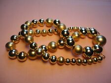 VTG. MODERN ESTATE TWO TONE 14 K GOLD PLATED BEADED GRADUATED NECKLACE   #196