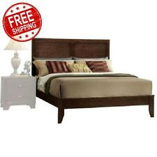 Espresso Queen Size Wood Platform Bed Frame Panel Headboard Bedroom Furniture