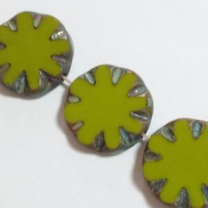 6pcs Olive Green Czech Glass Flower Coin Beads 14mm Table Cut Bohemain GB53