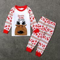 2pcs Christmas Newborn Baby Girls Boys Clothes Set Long Sleeve Tops Pants