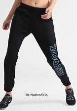 Nike Women's Therma Fleece Just Do It Sweatpants S Black Blue Gym Casual New