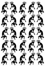 "Kokopelli 1"" Twins  5"" X 3.5"" Card Black Fused Glass Decals 17CC900"