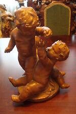TROIS ENFANTS JOUANT terracotta cast sculpture signed on base, Louis F. de Larue