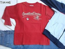 TEE SHIRT COMPLICES ROUGE SIGLE BEIGE T 5/6 ANS