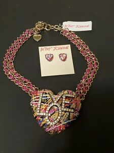 Betsey Johnson Large Heart Necklace LOVE and Earing Set With Tags