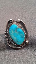 Turquoise Ring Signed Jm Sz 8 Large Native American Navajo Sterling Silver