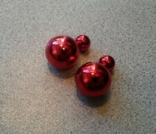 Earrings New With Tag Christmas Red Shiny Big Ball Double Sided