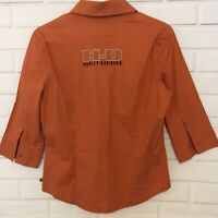 Harley-Davidson Motorcycle Womens Orange Short Sleeve Embroidered Top Medium