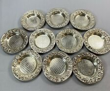 "Ten c1868-1890 Kirk & Son Sterling Repousse Chased 3"" Butter Nut Dishes 9.2ozt"