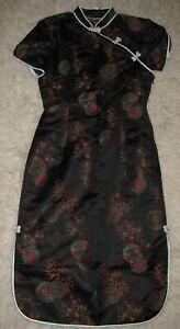Mandarin Asian Dress Black print satin Slit Geisha Costume S (tag 12)