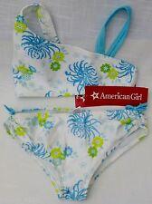 American Girl 4 pc Bikini Set w/ Skirt Cover-Up & Swim Shirt XS Wht & Turquoise