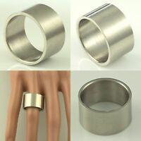 12mm Stainless Steel Mens Womens Wedding Band - Silver Flat Ring Sizes K to Z+1