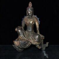 "9"" Chinese old antique bronze gilt handmade sitting Buddha statue"