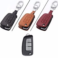 New Leather 3 Button Remote Key Bag Case Fob Holder Chain For Nissan Series K