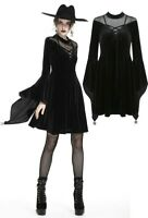 Dark in Love DW242  Witchy goth velvet dress with trumpet sleeves mesh cleavage