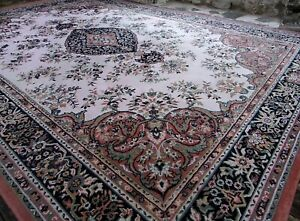 X Large PERSIIAN French Aubusson Rug 11ft x 8ft Floral medallion Pink Flowers