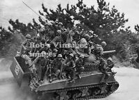 OKinawa Battle Photo US Marines Riding tank n The Beach  South Pacific WWII