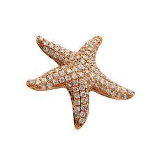 14K ROSE GOLD PAVE DIAMOND ANIMAL STARFISH SEA STAR PENDANT NECKLACE