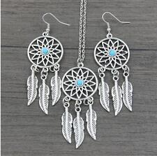 Fashion turquoise feather necklace Fashion turquoise feather earring jewelry #