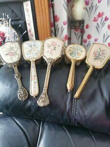 Vintage Petit Point 5  Vanity/Dressing Table Brushes