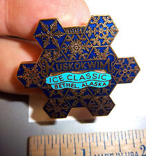 Kuskokwim Alaska 1991 Ice classic Bethel lapel Pin, Beautiful snowflake design