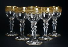 "6 Antique St Louis Gold Crystal 3 3/8"" Tall Cordial Stems Glasses Beethoven"