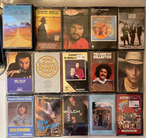 HUGE LOT OF 15 COUNTRY MUSIC CASSETTES EMMYLOU/WELCH/GATLIN/BELLAMY BROS/TILLIS